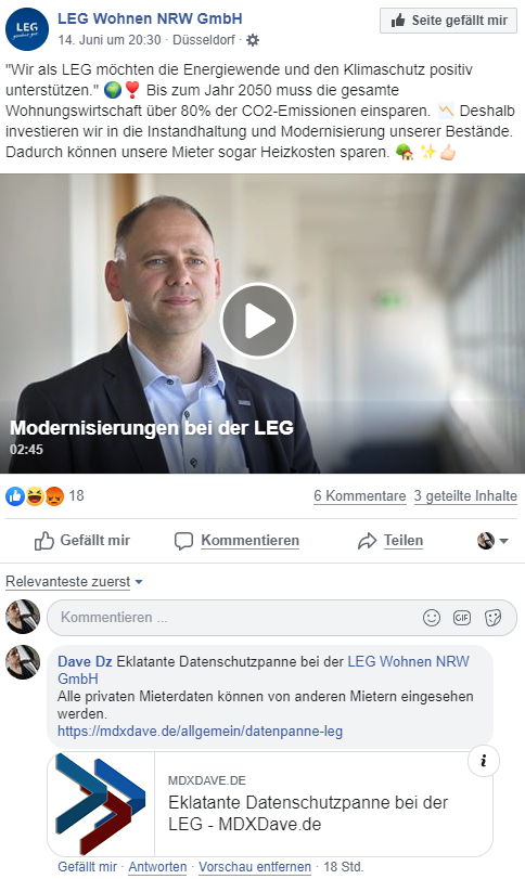 Screenshot Facebook Kommentar